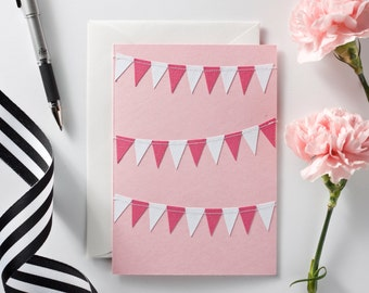Valentine's Day Card For Her Galentine's Day Card Pink and White Bunting Notecard Wedding Thank You Card Card For Girlfriends Card for Mom
