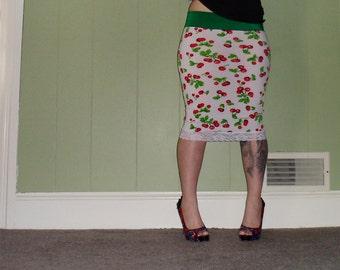 Cherries On Top - White Pencil Skirt