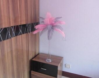 Hot Sale 50 Pink& 50 Silver wedding table centerpiecetable decoration,ostrich feather centerpiece