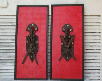 Gothic Red Mid Evil Wall Art Sculptural Dungeon Home Decor Weapon Flail Mace Vintage Home Decor Goth Castle Dark Ages 1960s 1970s