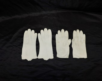 2 Pair Vintage 50s Cream White Leather Gloves XS S Driving Summer Garden Party Wedding Church