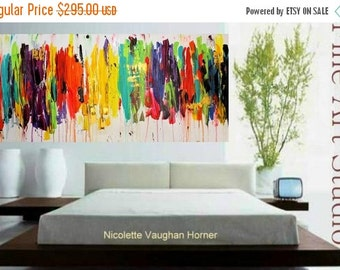 Sale Original X Large Abstract Painting Multi Shades  Ready to Hang Gallery Canvas Contemporary Fine Art Nicolette Vaughan Horner FREE SHIPP