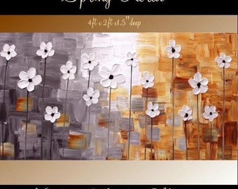 "Sale XL Original Modern 48"" palette knife signature floral impasto oil painting Shades of Grays,whites,rust shades, by Nicolette Vaughan Hor"
