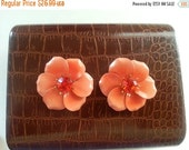 Now On Sale Vintage Orange Flower Rhinestone Brooches **  Set of 2 Scatter Pins ** Mad Men Mod Jewelry ** Collectible Retro Vintage Jewelry