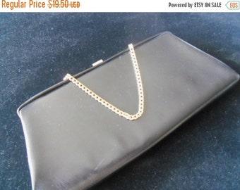 Christmas In July Sale 1960's Black Clutch Vintage Handbag Rockabilly Accessories