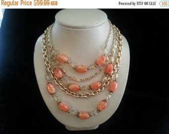 NOW ON SALE Vintage Estate Signed Coro Orange Bib Lucite Bead 5 Strand Choker Necklace 1950's Collectible Jewelry