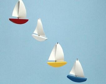 Sailboat Mobile,C2,Baby Mobile,Multi Painted Wood,Vinyl Sails,Sailboat,Mobile,Kinetic,Nautical,Baby Nursery,Kid Mobile,Boat Mobile,Ocean Art