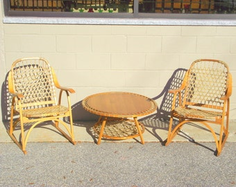 Snocraft Snowshoe Wood Arm Chairs & Table Furniture Rustic Lodge - Snocraft Norway, Maine - Excellent Condtion