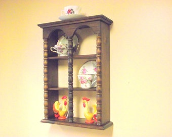 Jenny Lind Style Wood Curio Wall Shelf - Teacup & Saucer Columns - 3 Tier Display - Holds 6 Cups / Saucers - Spool Spindle Columns