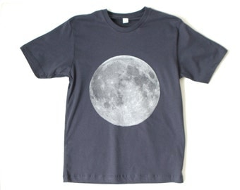navy BLUE MOON men's basic cotton FULL moon soft t-shirt top - Size Small, Medium, or Large