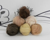 Wooly Buns loose wool roving assortment, hand dyed skin tones fiber sampler, needle felting supplies in Flesh Tones,1.5 oz, earth neutrals