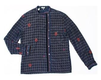 Vintage 80s Wappen Navy Blue Retro Print Pure Silk Top Shirt UK 10 US 8