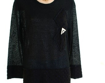 Vintage 80s S.f.a. Collection Black Textured Slouchy Jumper UK 12 14 US 10 12