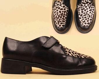 90s Vtg Black Genuine Leather & Leopard PONY Fur Creeper Oxford / MINIMALIST Mod Monk Buckle Strap Chunky Heel Platform Italy /