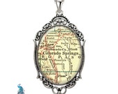 Vintage Map Necklace Oval Filigree Pendant City of Colorado Springs Colorado Antique Map Pendant State of CO Map Jewelry