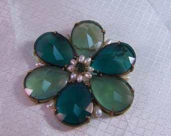 Light Blue-Green PIxeled Lucite Flower Brooch with Freshwater Pearls