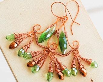 Green Gold Crystal Copper Wire Wrap Peacock Chandelier Earrings