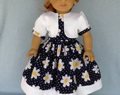 18 inch doll dress and jacket.  Fits American Girl Dolls. Navy floral with white pique contrast.