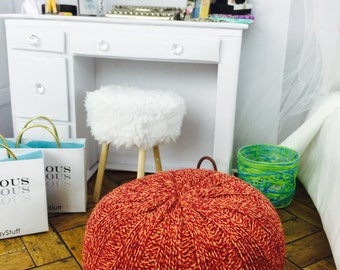 Doll Pouf Ottoman for Barbie, Fashion Royalty, Ever After High, Bratz, Pullip, Monster High and other 12 in. Dolls -  Orange and Red Mix