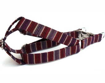 Dog Harness, STRIPES Red Purple, Handmade Dog Harness, Dog Step in Harness, Step in Dog Harness