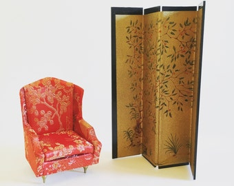 Vintage Dollhouse Miniature Japanese Privacy Screen with Japanese Upholstered Satin Armchair Ideal Japan