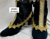 WOMENS SPATS GAITERS Shoe Covers in Black Faux Silk or Satin with Gold Braid Trim and Gold Satin Lining Steampunk Gothic Edwardian Costume