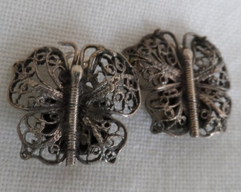 Sterling silver butterfly design vintage clip on earrings.