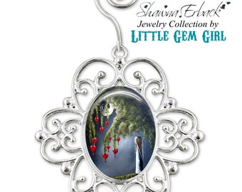 Gothic Girl Christmas Tree Ornament - Bleeding Hearts Ornament - Full Moon Ornament - Fairy Tale Fantasy Artwork by Shawna Erback