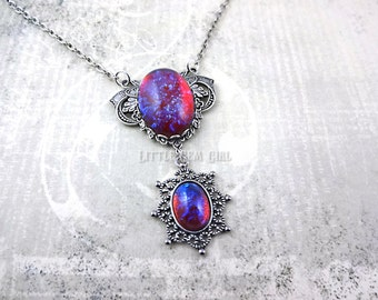 Dragons Breath Opal Necklace - Red Blue Mexican Opal Antique Silver Victorian Choker - Dragon's Breath Pendant in Ornate Filigree Setting