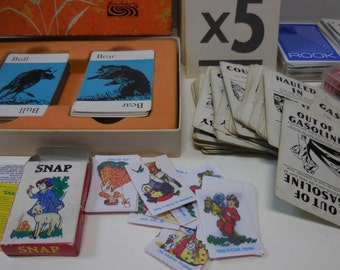 Vintage lot Playing cards PIT  Snap fairy Tale Donkey Rook Flash Cards Gasoline Automotive Card games Dice Supplies Parts pieces