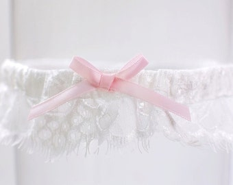 Delicate French Lace Toss Garter Delicate Lace Garter with Pink Bow Modern Ivory Lace Garter Dainty lace garter Lace Bridal Garter Wedding