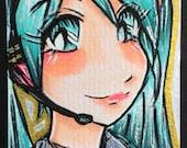 Vocaloid Hatsune Miku ACEO Kakao Karten Original Copic Marker Illustration - 2.5 in x 3.5 in - Anime Manga Style Fanart - OOAK ATC