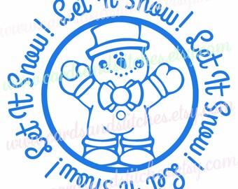 Snowman SVG - Let It Snow SVG - Digital Cutting File - Cricut Cut - Instant Download - Silhouette SVG - Vector Cut - Svg, Dxf, Jpg, Eps, Png