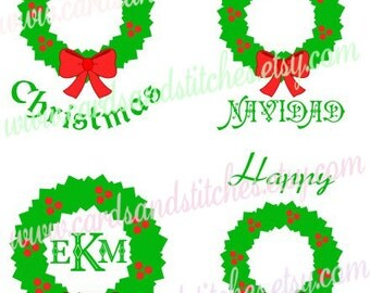 Christmas Wreaths SVG - Christmas SVG - Digital Cutting File - Vector Cut - Silhouette Cut File - Instant Download - Svg, Dxf, Jpg, Eps, Png