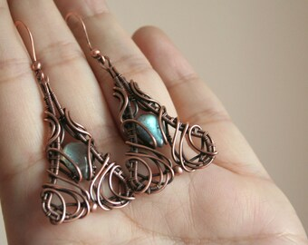 Triangles - blue shimmer labradorite earrings copper intricate wire wrapped OOAK