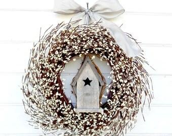 Farmhouse Decor-Summer Wreath-Bird House Wreath-Country Cottage Decor-Front Door Decor-Wreath-Housewarming Wreath-Wedding Gift-Gift for Mom