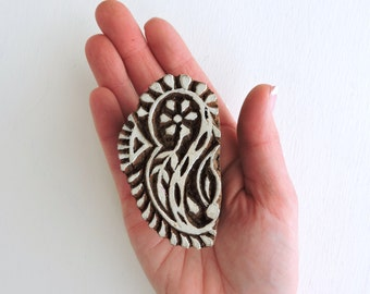 Flower Stamp, Paisley Stamp, Indian Printing Block, Leaf Stamp, Hand Carved Wooden Block Stamp, Clay Stamp, Pottery Textile Stamp from India