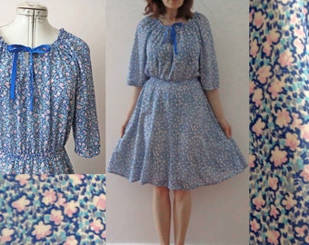 70s Pink Blue Floral Baby Doll Tea Dress Small