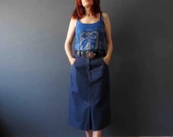 80s Denim Pencil Skirt Medium