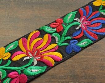 1 Yard Black Fabric Embroidered Trim-Multi Colored Art Quilts Silk Sari Border-Embroidered Fabric-Sari Fabric-Silk Ribbon-India Fabric Trim