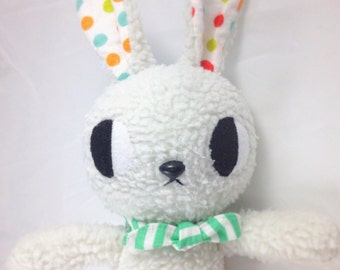 white bunny rabbit doll stuffed animal cute retro