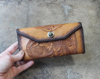 Tooled Leather Wallet / Vintage Southwest Erma Billfold / Leather Blossom Coin Purse