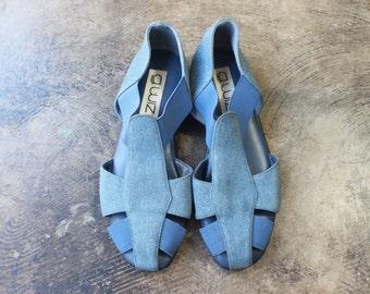 8 M Denim Sandals / Vintage Jean Summer Shoe / Women's Elastic Flats