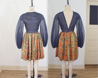 Shear Top 1960's Frock / Vintage Women's Dress / Small Mini Dress with Bishop Sleeves