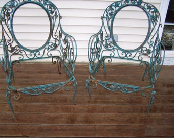 vintage pair of french style wrought iron garden chairs,beautiful tole patio chairs,iron scroll chairs,chippy aqua paint,fab iron chairs