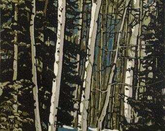 Deep Blue Sky, original linocut print