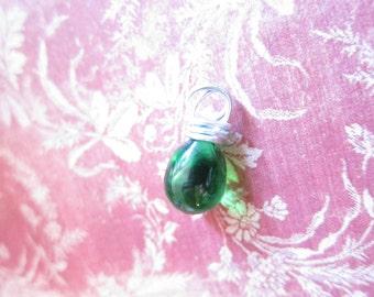 Emerald Green Wire Wrapped Teardrop Pendant
