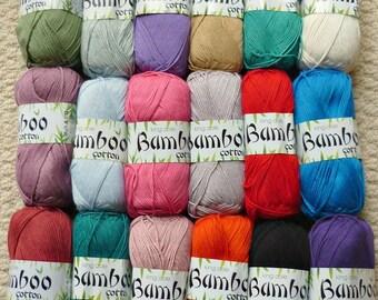 Knitting Wool/Yarn King Cole Bamboo Cotton Double Knitting (Light Worsted) Knitting Yarn/Wool