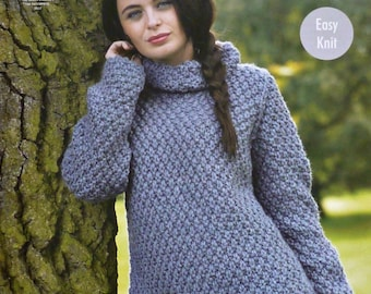 Knitting Pattern Roll Neck Jumper : Moss stitch Etsy