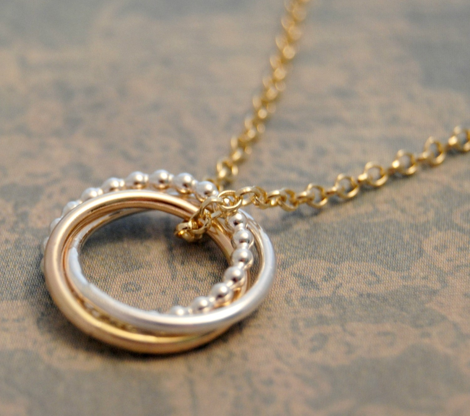 knot 1 2 interlocking rings necklace 3 rings
